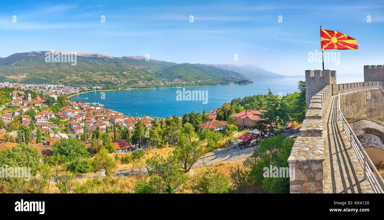 Aerial panorama viev from Ohrid Castle, Macedonia - Stock Image
