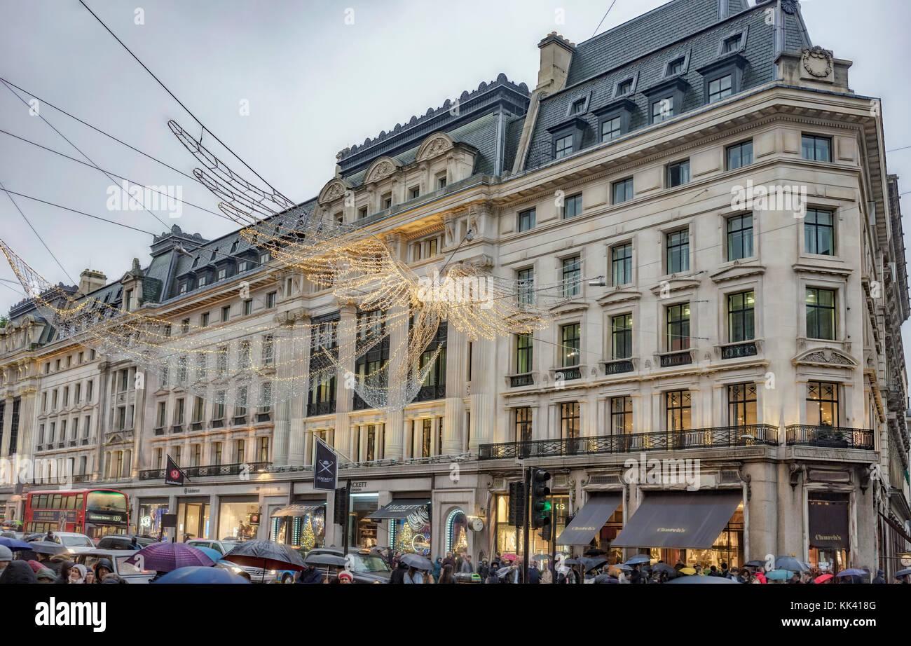 London's Regent Street at the start of the Christmas shopping season Stock Photo