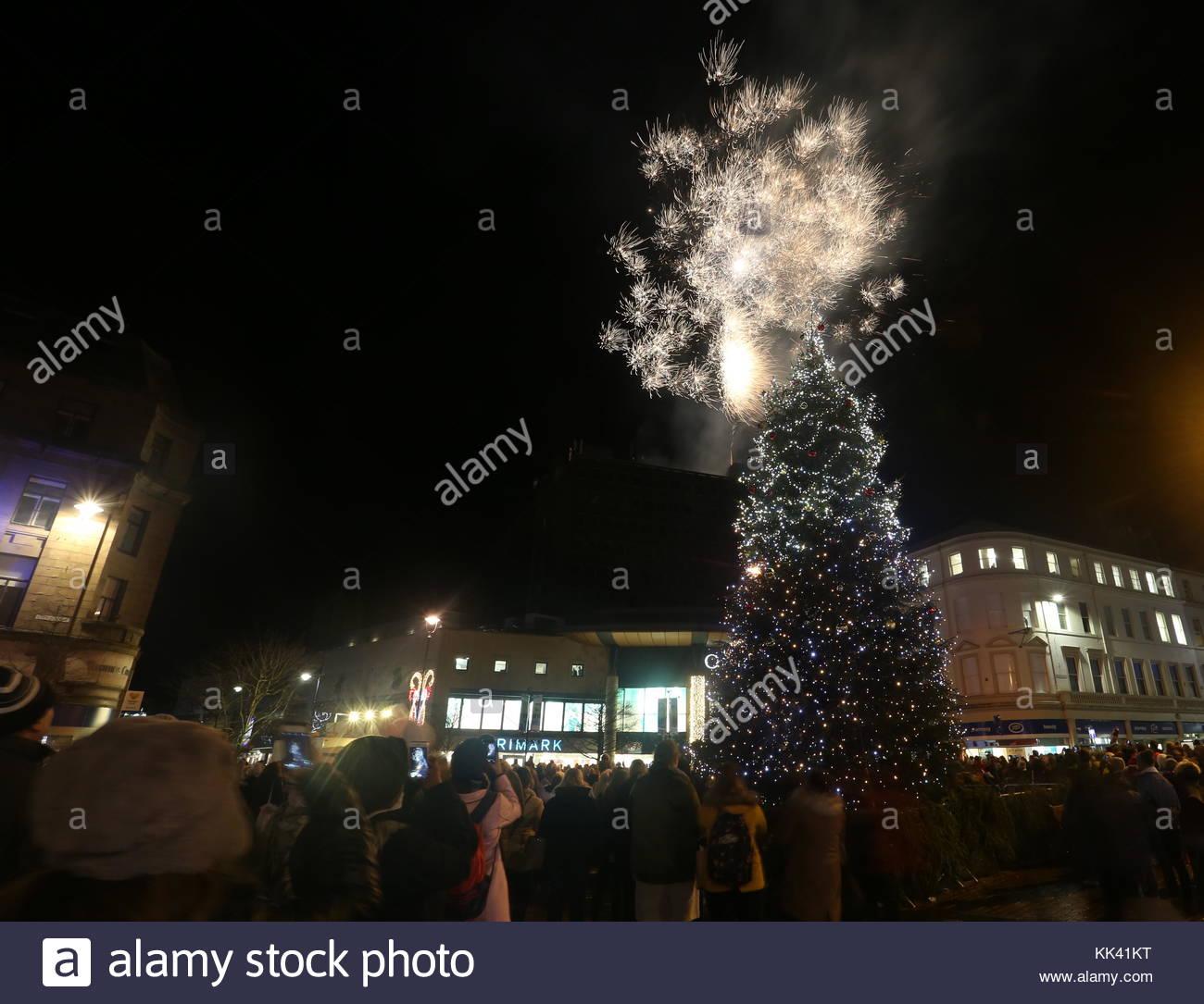 Fireworks and Christmas tree Dundee Scotland  24th November 2017 - Stock Image