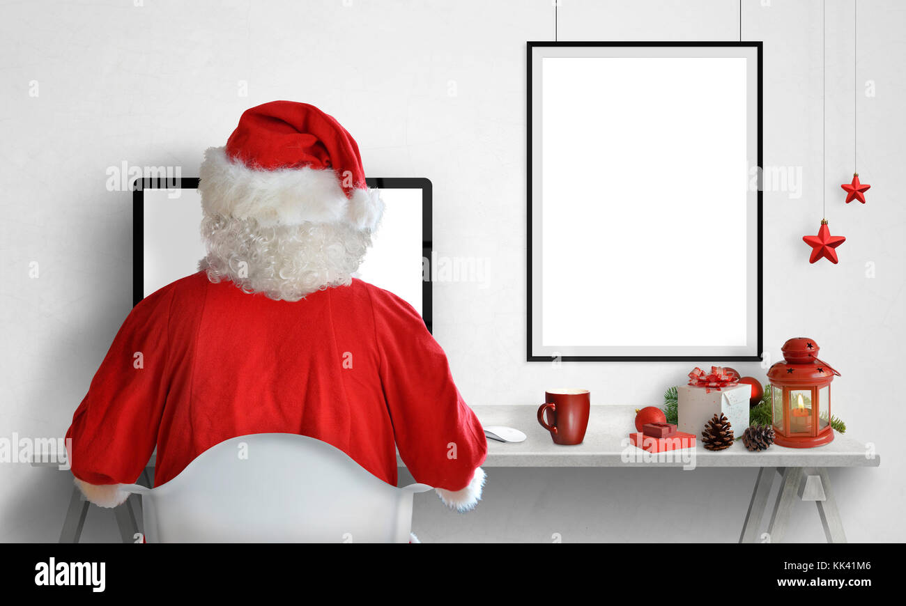 Santa Claus Work On Computer Picture Poster Frame On Wall With