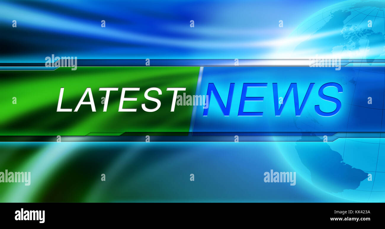 News background wallpaper. Latest news tag in the center of banner at blue background. - Stock Image