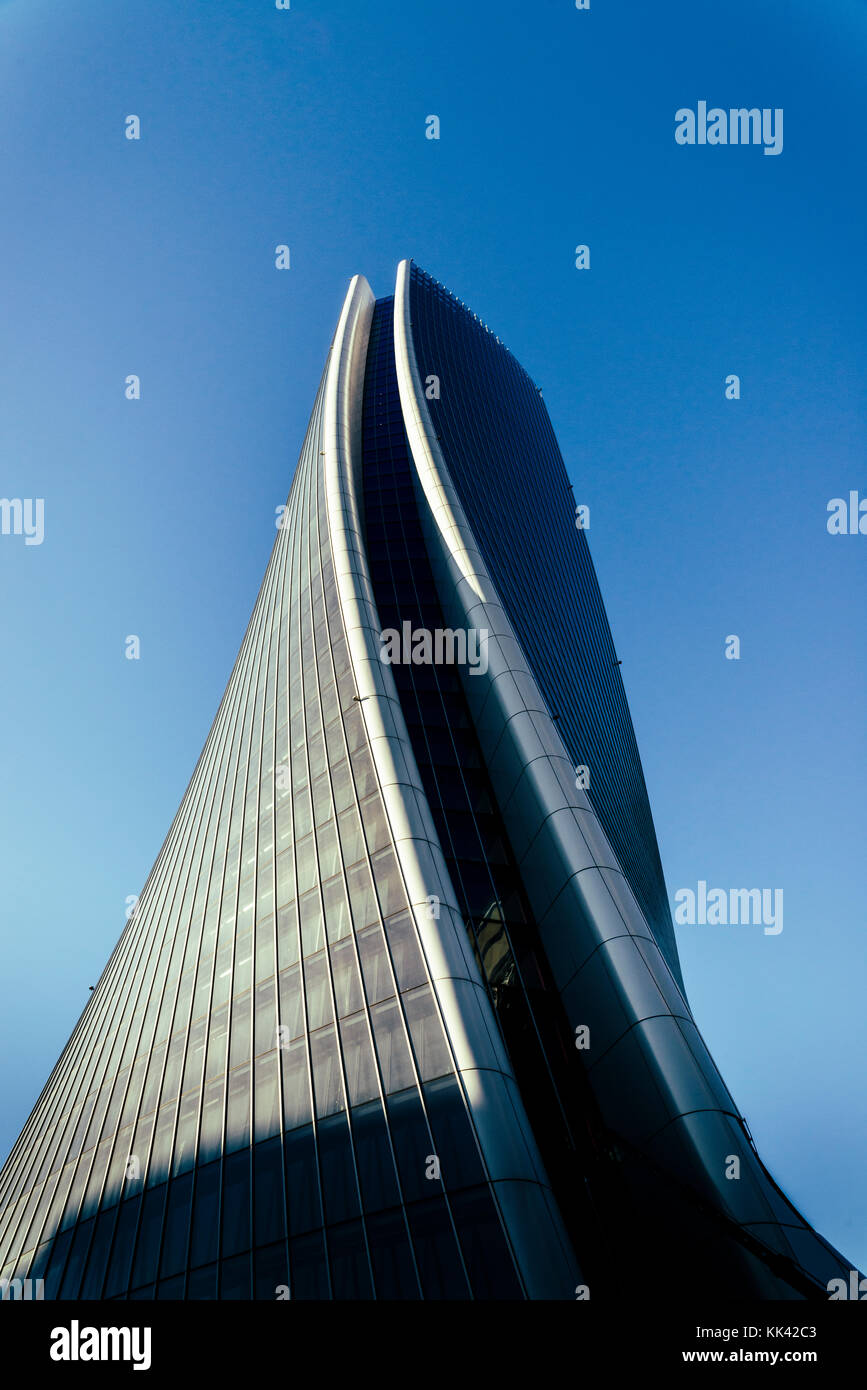 Hadid Tower by Zaha Hadid Architects, in Milan, Italy's modern CityLife District - Metro stop Tre Torri - Stock Image