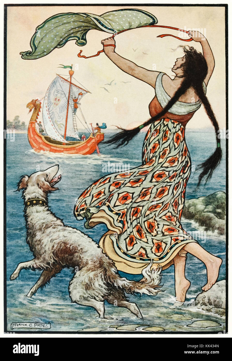 'The black-browed maid stood upon the banks as the red ship… sailed away from Nogorod' from 'The Russian Story Book' - Stock Image