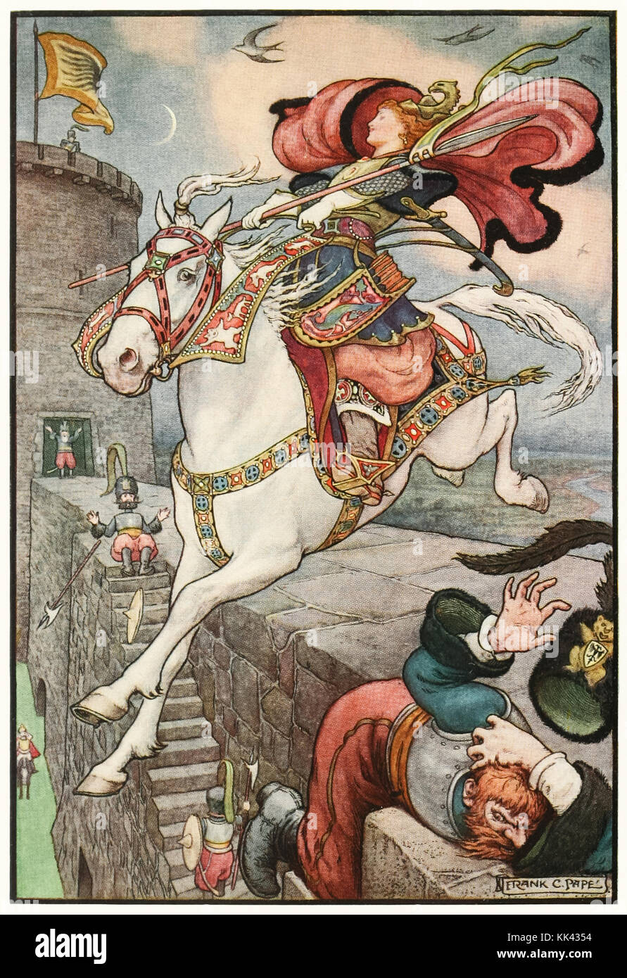 'She put her good steed to the walls and leapt lightly over them' from 'The Russian Story Book' by Richard Wilson - Stock Image