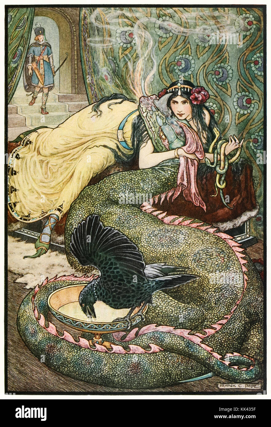 'Marina lay upon the couch… and fondled a fiery dragon with her right hand' from 'The Russian Story Book' by Richard - Stock Image