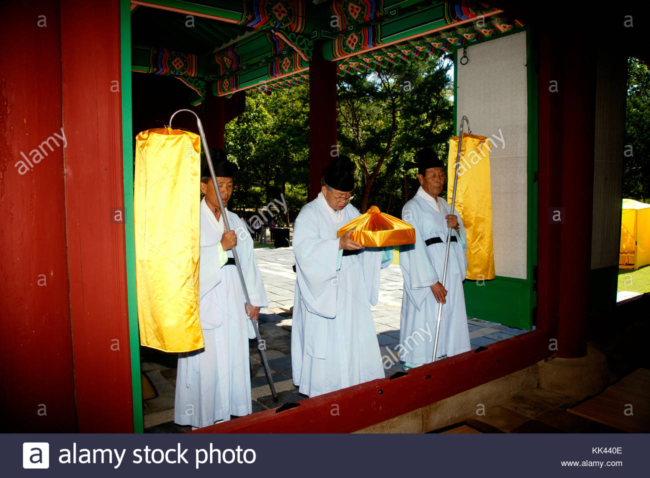 Korean history Royal Tombs of the Joseon Dynasty King Taejo Queen Shinduk sending off the axle box - Stock Image