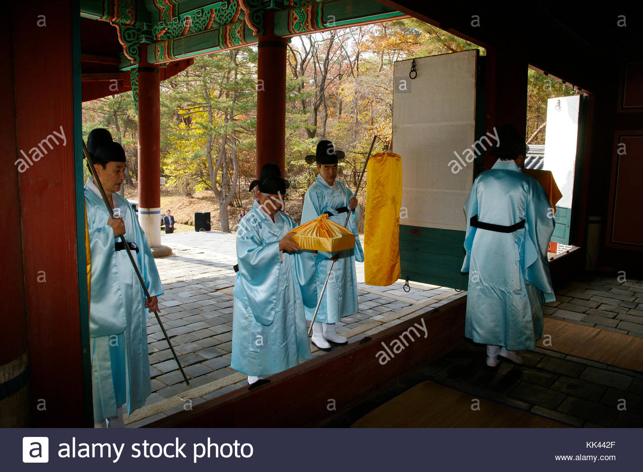 Korean history Royal Tombs of the Joseon Dynasty King Taejo Queen Shineui sending off the axle box - Stock Image