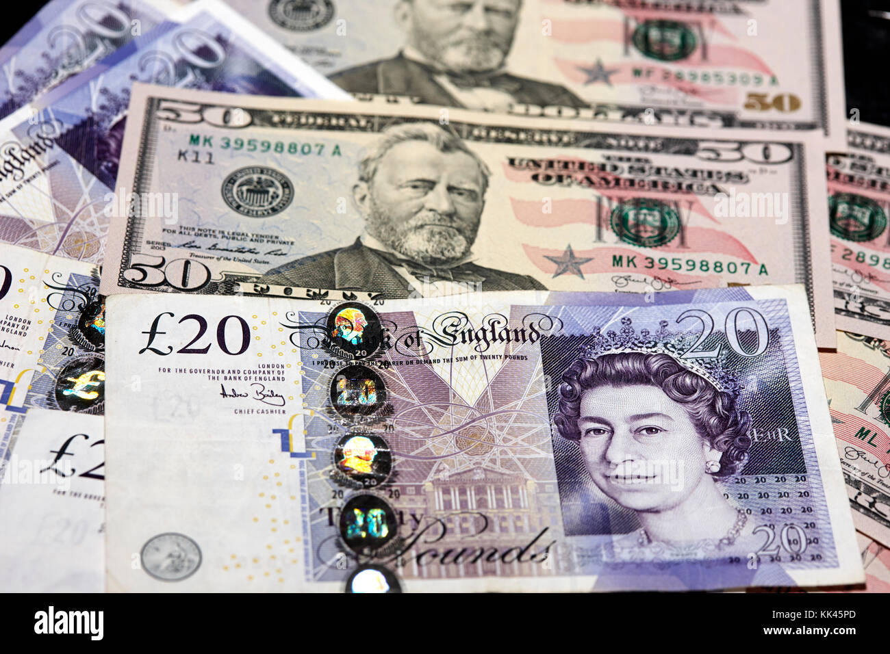 british pounds and us dollars cash - Stock Image