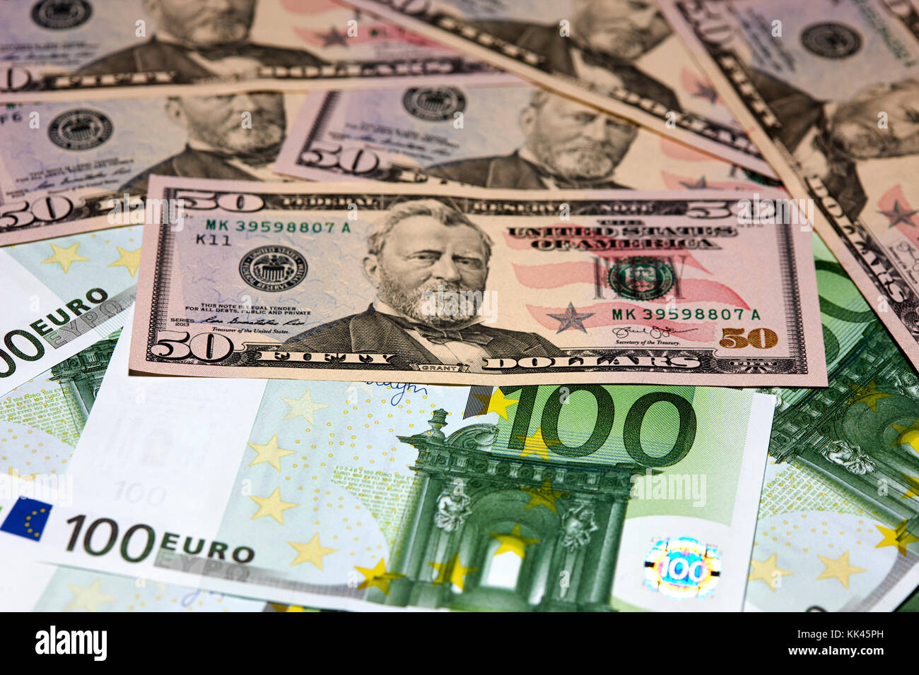 us dollars and euros cash - Stock Image