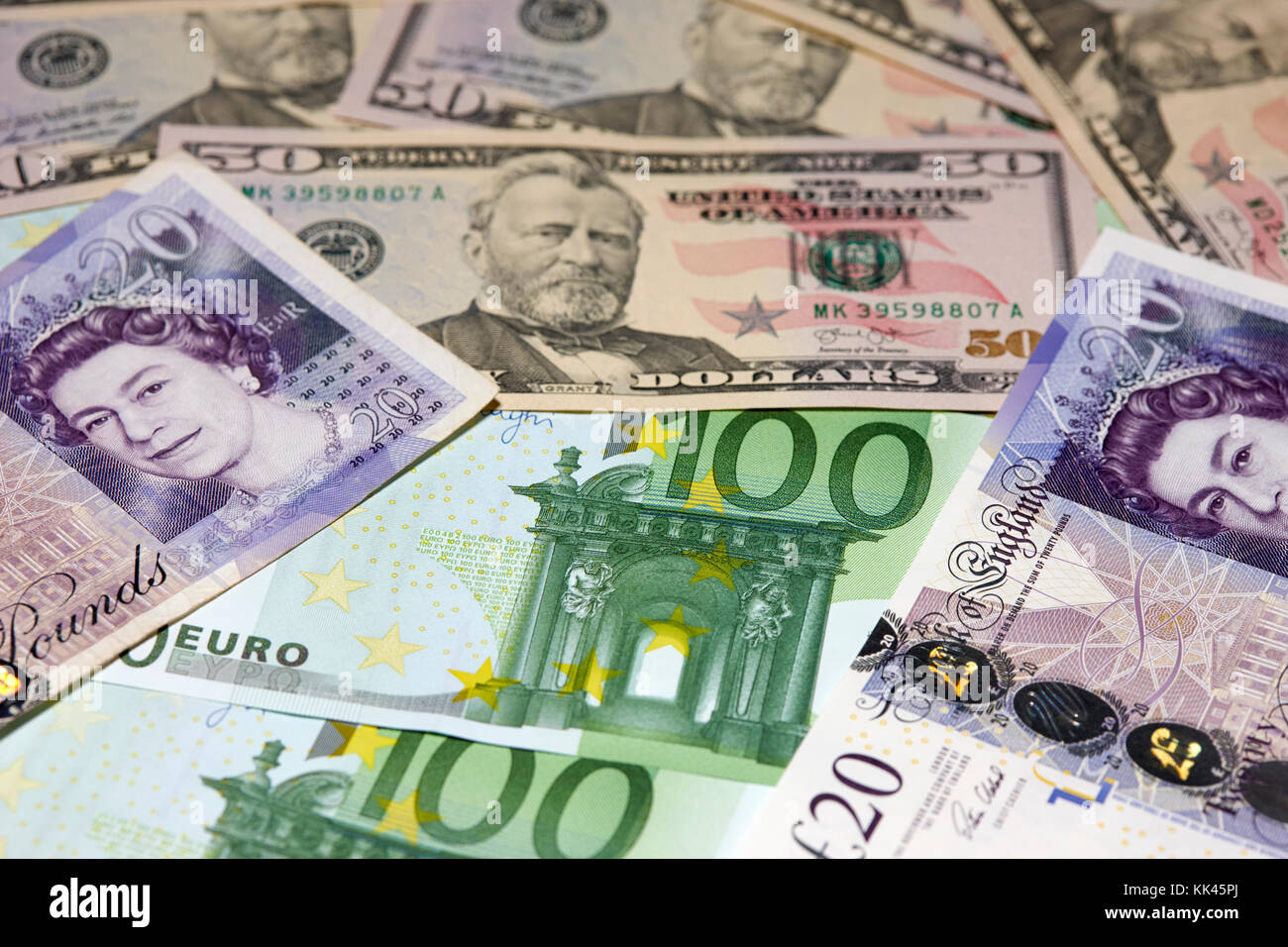 British Pounds Us Dollars And Euros Cash Notes Stock Image