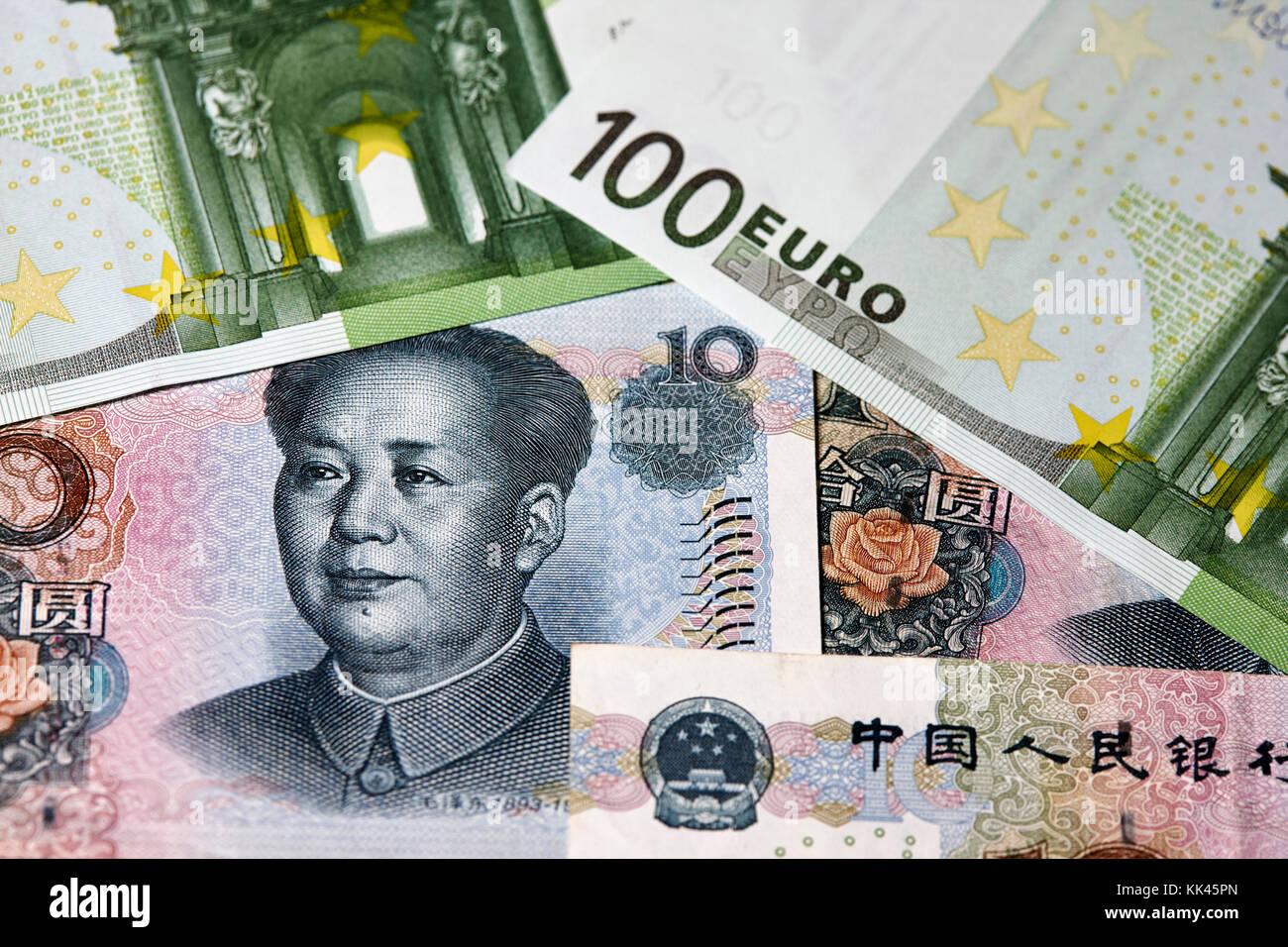 chinese yuan renminbi and euros cash - Stock Image
