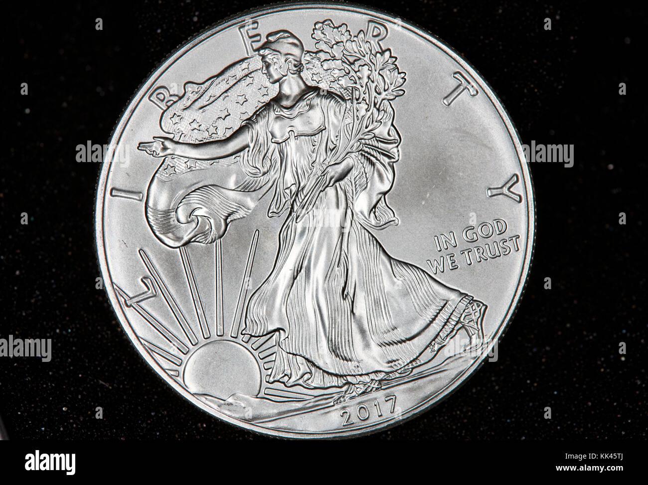 united states silver eagle 1oz bullion coin - Stock Image