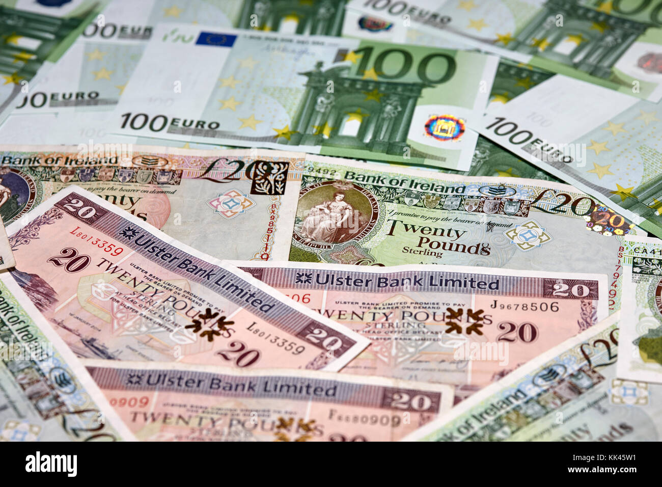 northern ireland banks pounds and euros cash - Stock Image