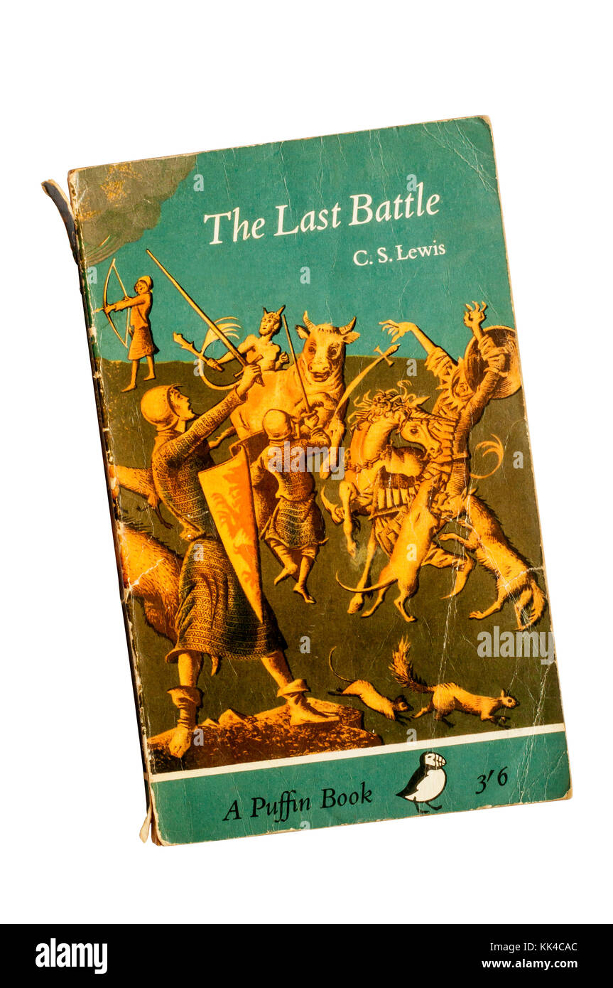 A paperback copy of The Last Battle by C S Lewis.  The 7th and last of the Narnia stories.  First published in 1956. Stock Photo