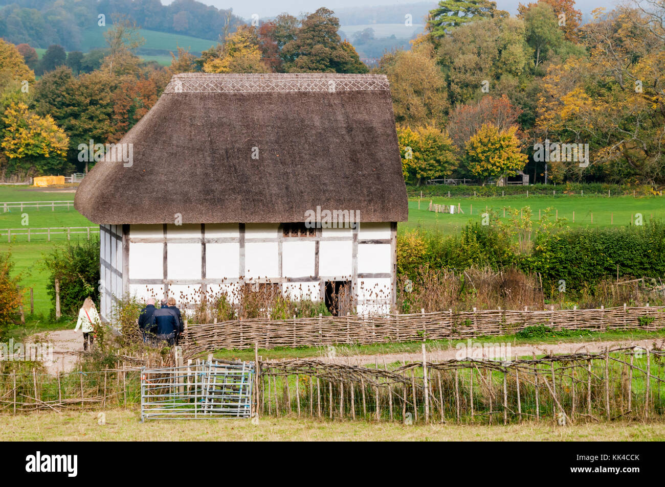 17th century Poplar Cottage from Washington near Steyning in W Sussex at the Weald and Downland Open Air Museum, - Stock Image