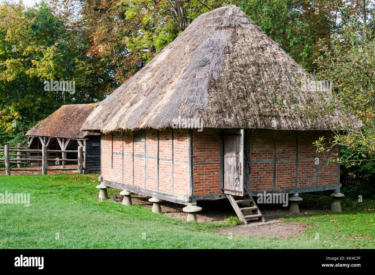 An 18th century granary from Littlehampton at the Weald and Downland Open Air Museum, Singleton, West Sussex. - Stock Image