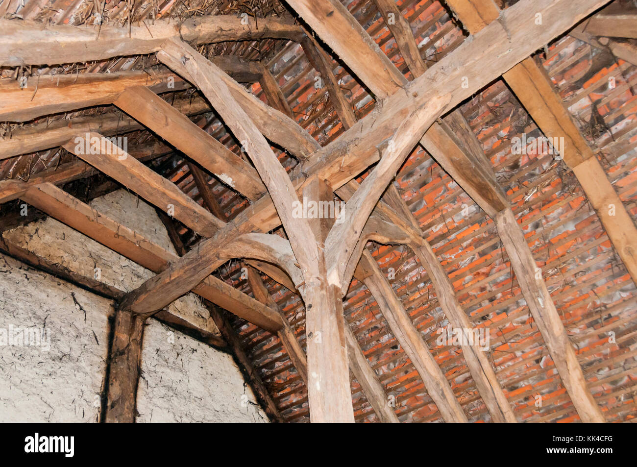 Crown post roof construction of 15th century Bayleaf Farmstead from Chiddingstone at the Weald and Downland Open - Stock Image