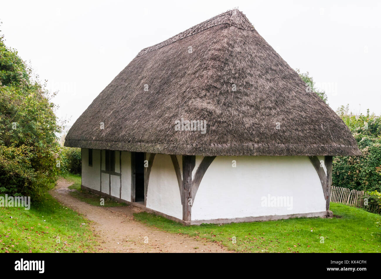 Late 14th century Hall from Boarhunt in Hampshire at the Weald and Downland Open Air Museum, Singleton, West Sussex. - Stock Image
