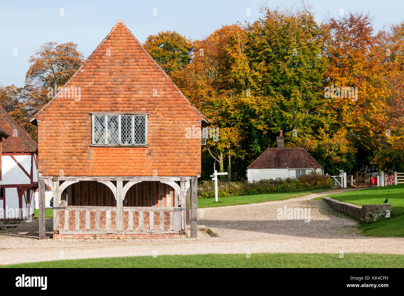 Titchfield Market Hall of 1619, relocated and reconstructed at the Weald and Downland Open Air Museum in Singleton, - Stock Image