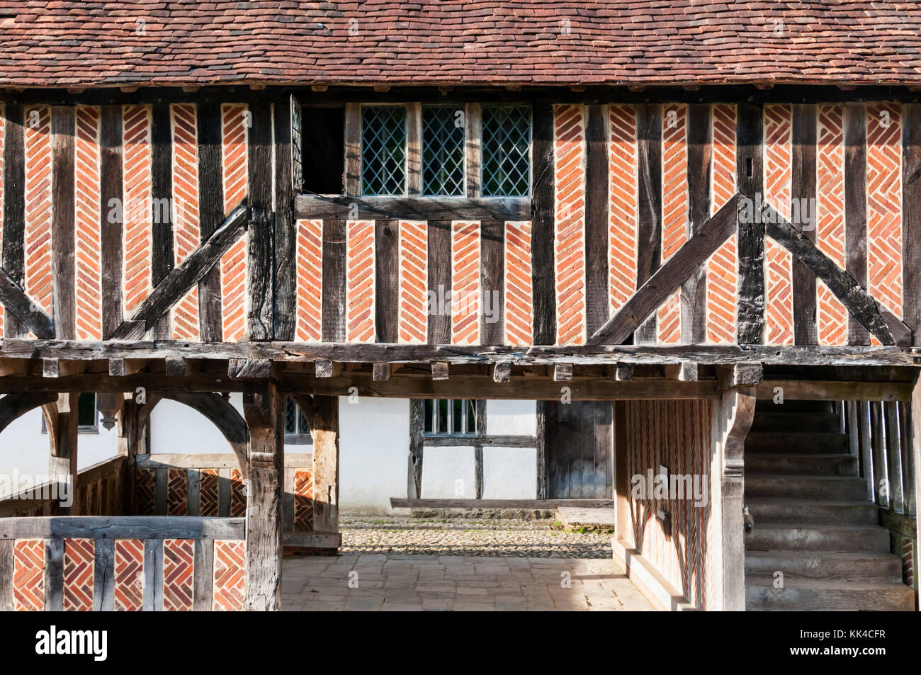Detail of Titchfield Market Hall of 1619, relocated and reconstructed at the Weald and Downland Open Air Museum - Stock Image