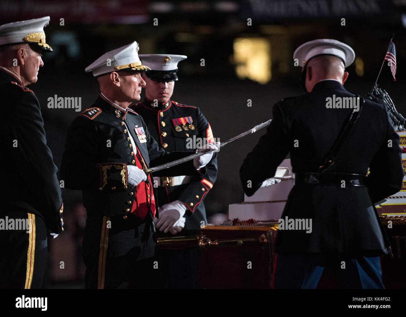 U.S. Marine Corps Lt. Gen. Rex G. McMillian, 10th Commander of Marine Forces Reserve and Marine Forces North, cuts - Stock Image