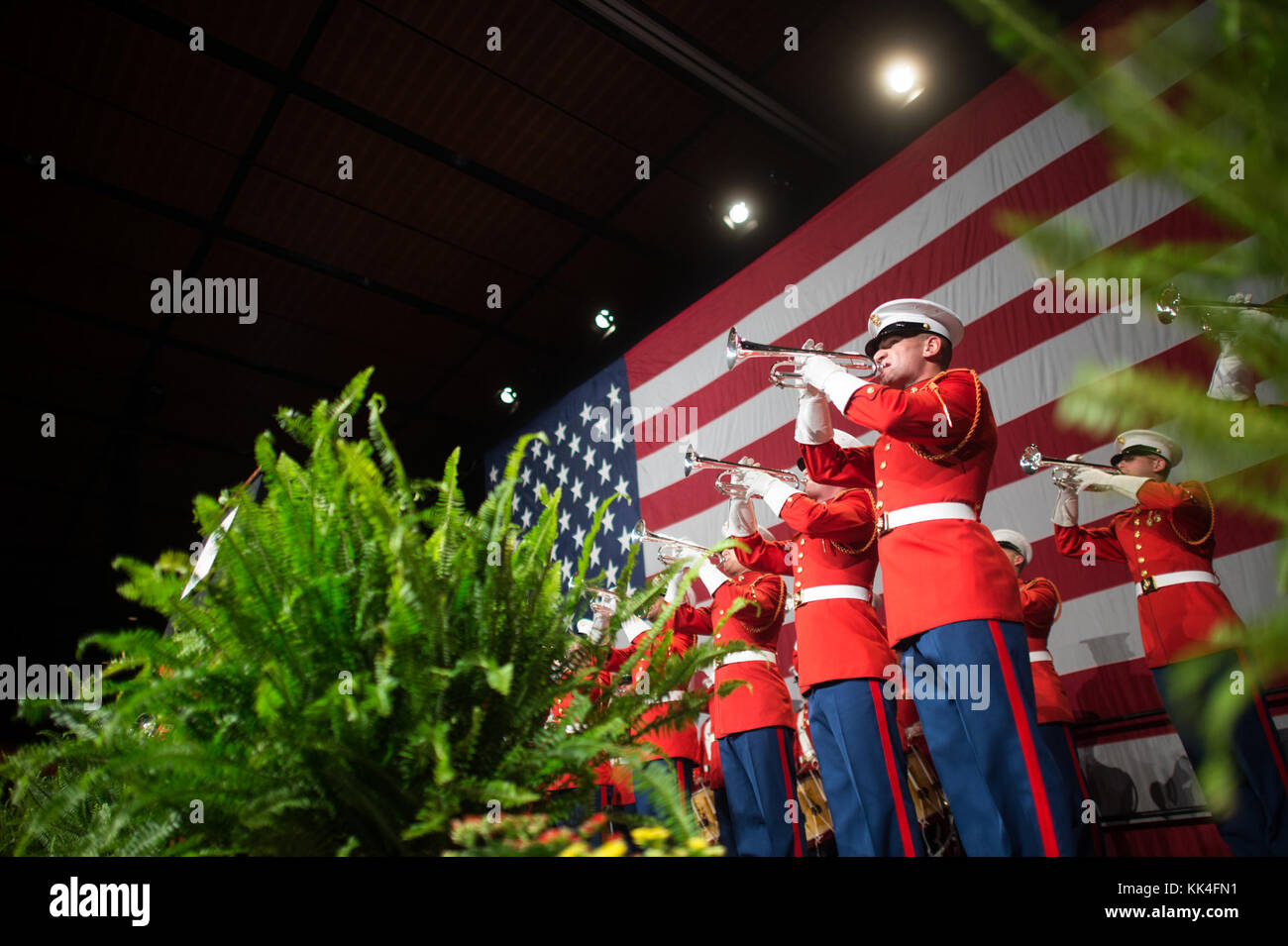 """""""The Commandant's Own"""" United States Marine Drum and Bugle Corps plays during the Semper Fidelis Society Boston Stock Photo"""