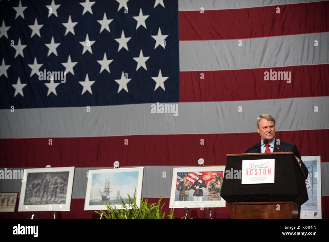 Mr. Tom Lyons, Founder and chairman of the Semper Fi Society, speaks during the Semper Fidelis Society Boston U.S. Marine Corps Birthday Luncheon at the Boston Convention & Exhibition Center, Massachusetts, Nov. 13, 2017. (DoD Photo by U.S. Army Sgt. James K. McCann) Stock Photo