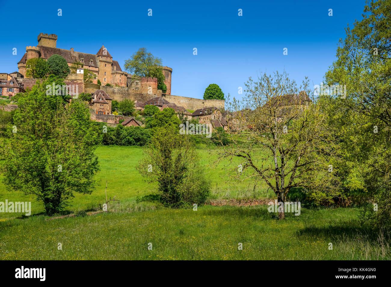 Bretenoux Castelnau medieval castle, lot, quercy,dordogne france Stock Photo