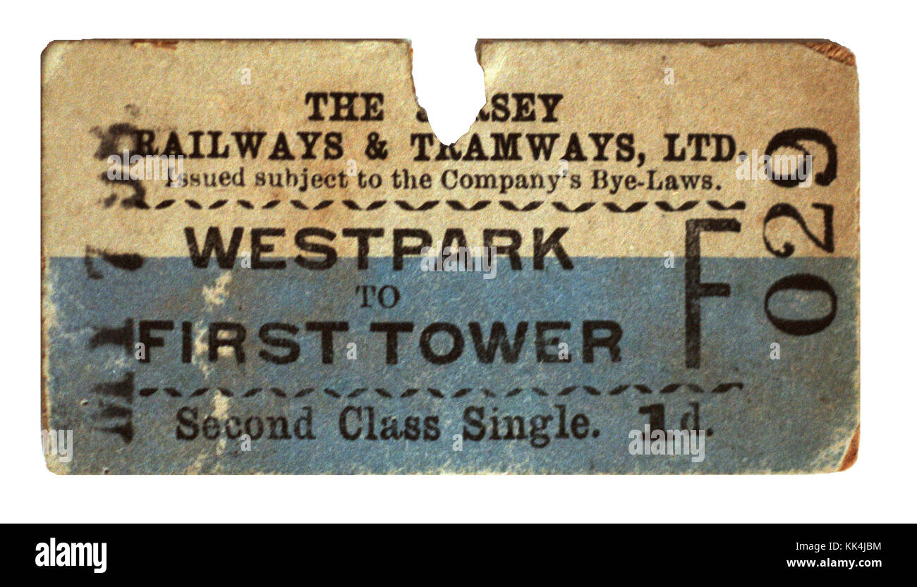 The Jersey Railway & Tramways Ltd Ticket - Stock Image