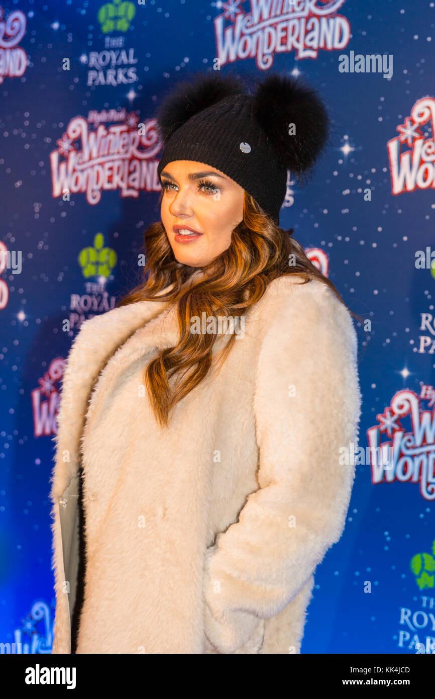 Tamara Ecclestone, socialite,television personality, smiles at the Winter Wonderland 2017 photocall, London - Stock Image