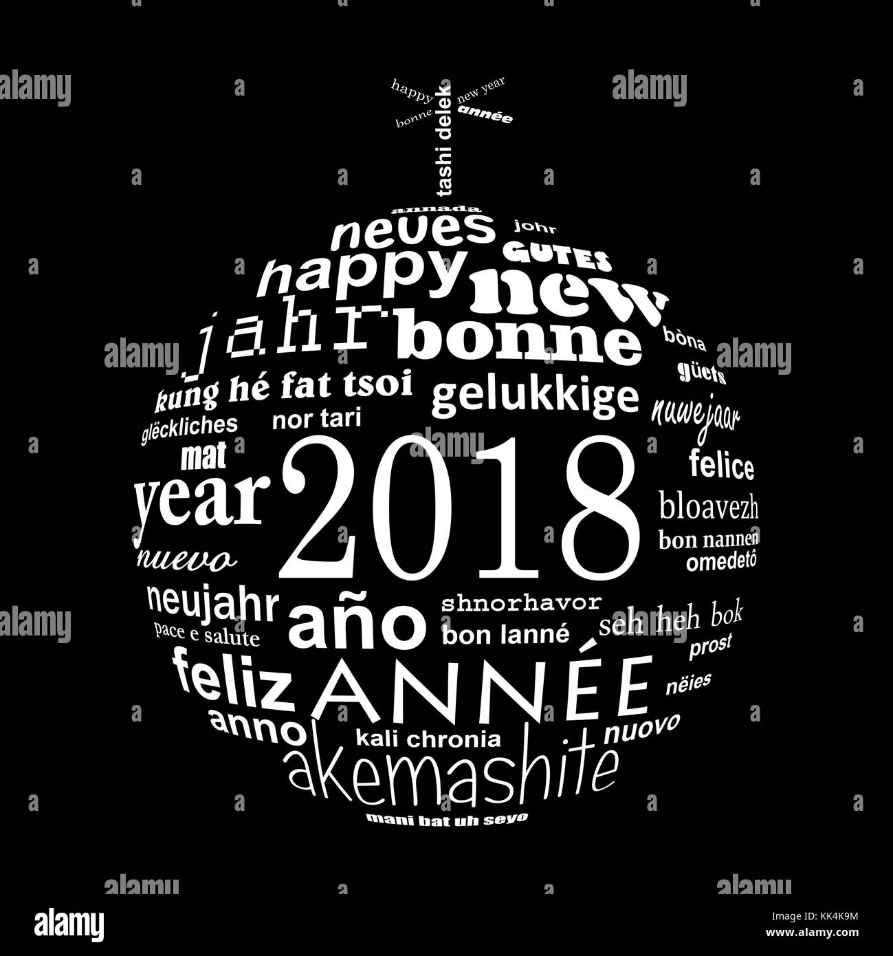 2018 new year multilingual text word cloud greeting card in the shape of a white christmas ball on black background - Stock Image