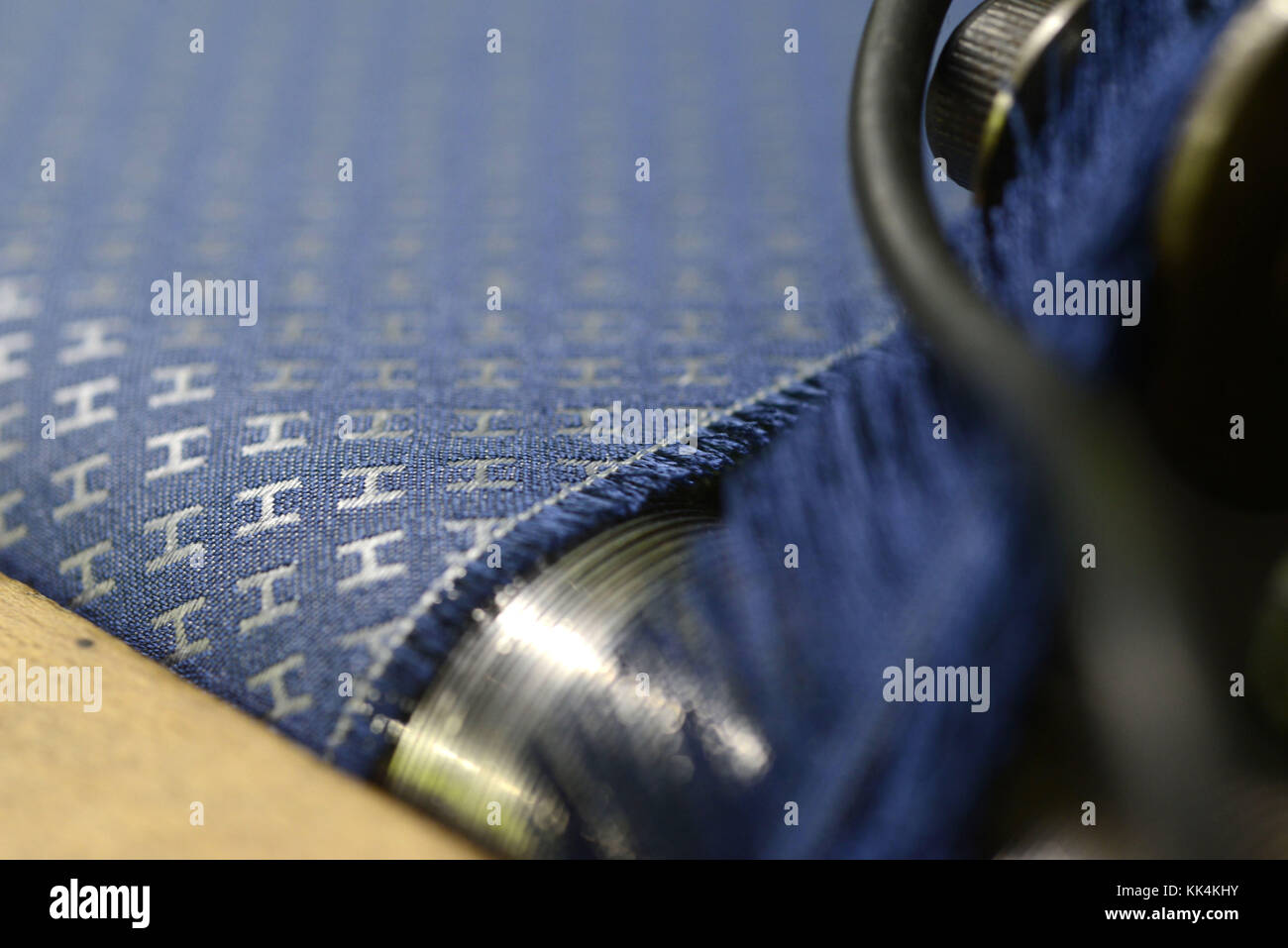 Bussieres (central-eastern France): fabric that will be used to make Hermes ties in the premises of the weaving - Stock Image