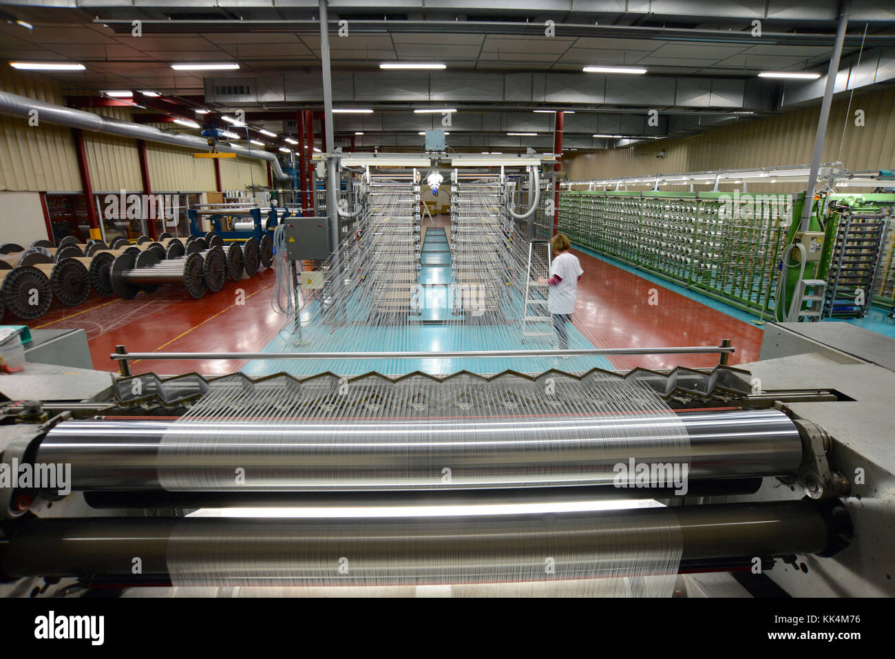 Badinieres (south-eastern France): Porcher weaving factory, warping workshops.  The manufacture belongs to Porcher - Stock Image
