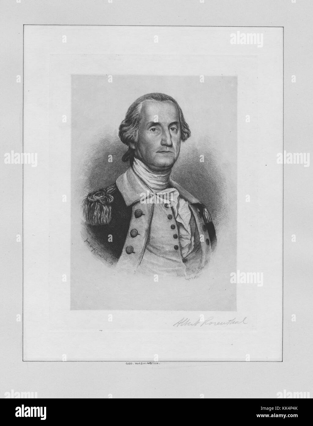 An engraving from a portrait of George Washington, he was the first President of the United States of America and - Stock Image