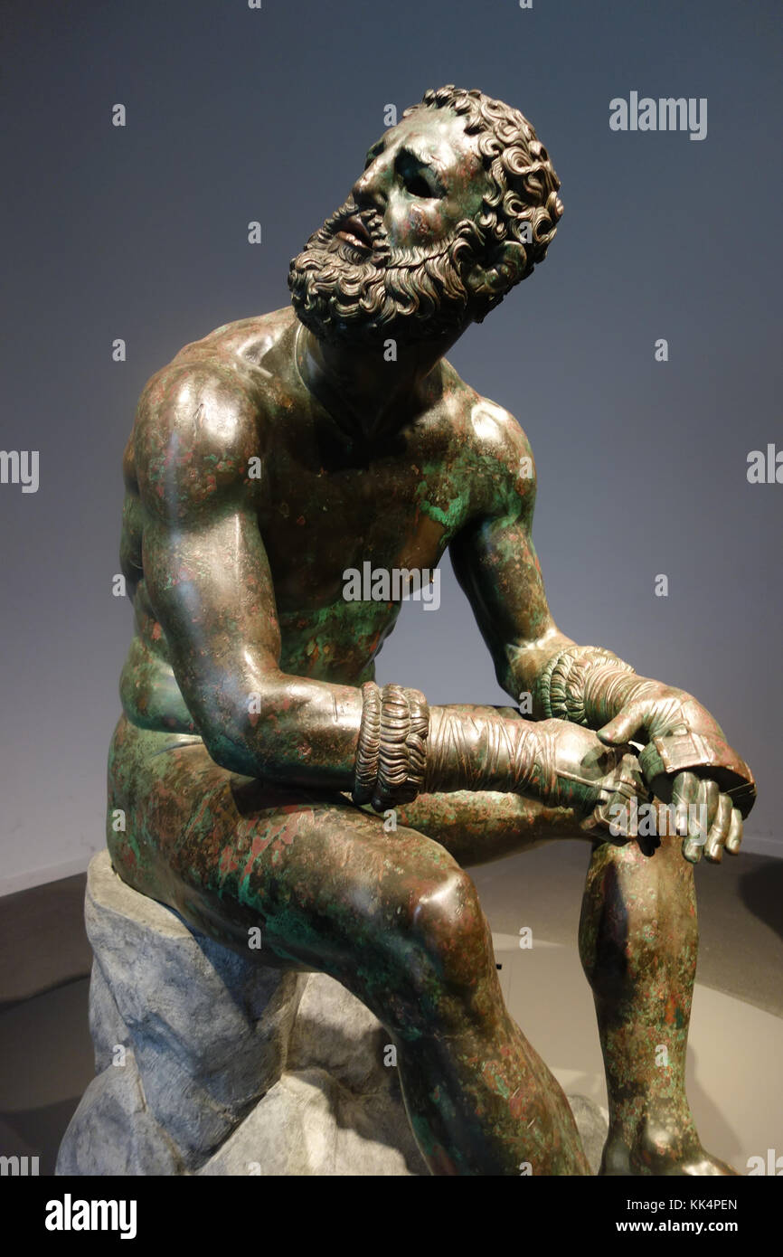 ROME, ITALY - NOVEMBER  5, 2017: bronze Boxer at Rest a masterpiece of Hellenistic athletic professionalism - Stock Image