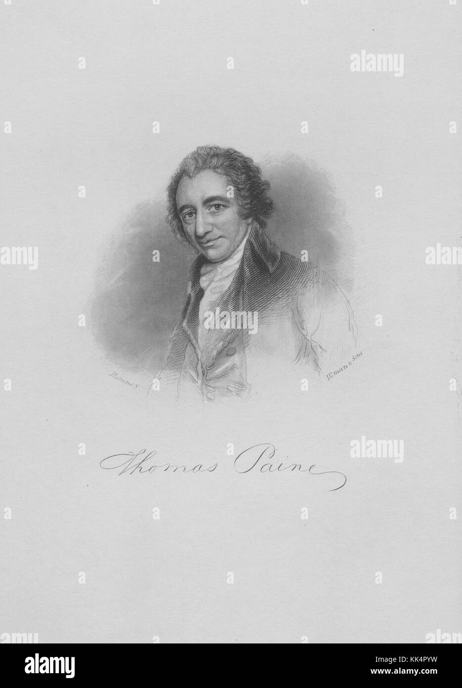Engraved portrait of Thomas Paine, one of the Founding Fathers of the United States, an English-American political - Stock Image