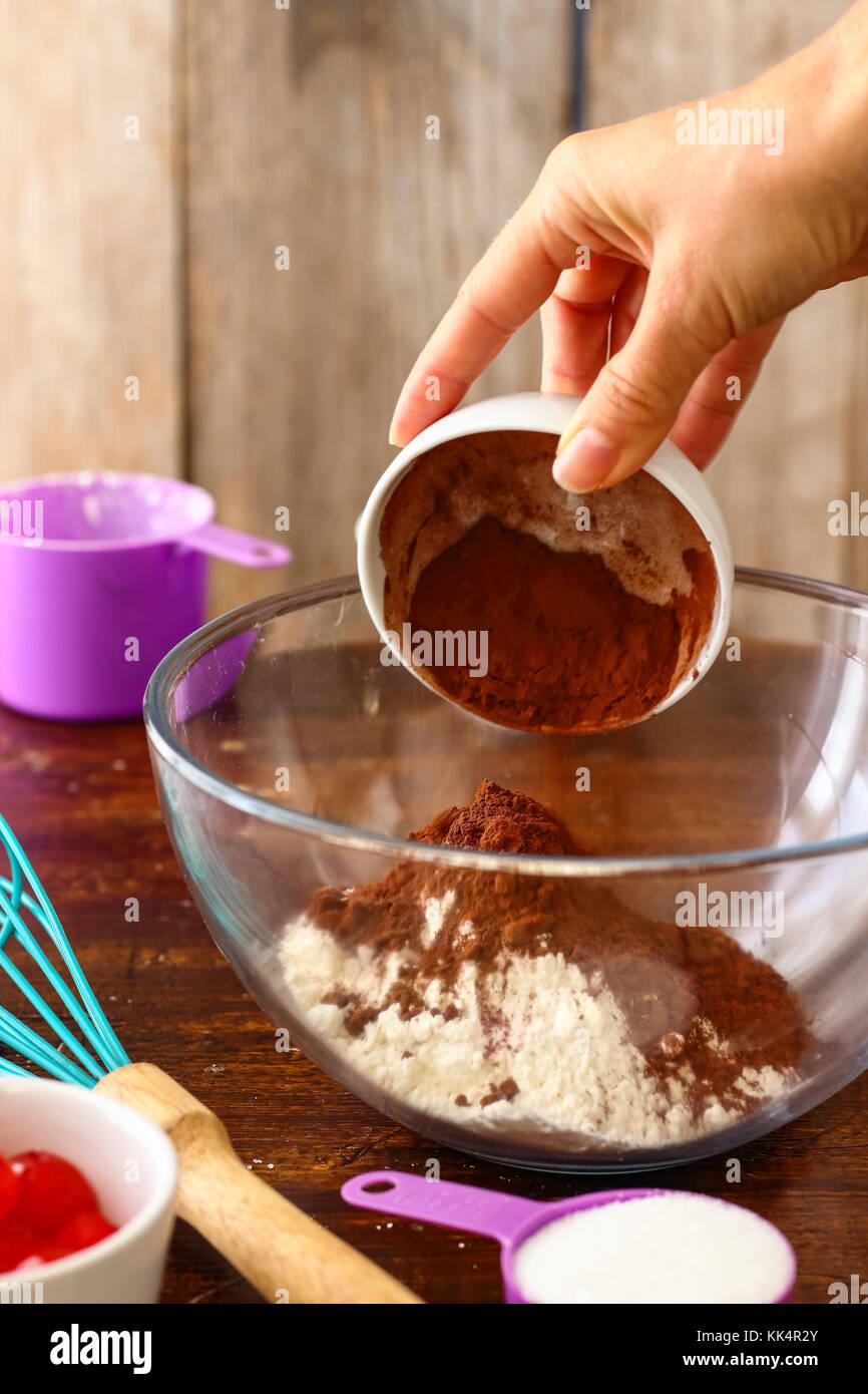 Chocolate Thumbprint Cookies with Maraschino Cherries Stock Photo