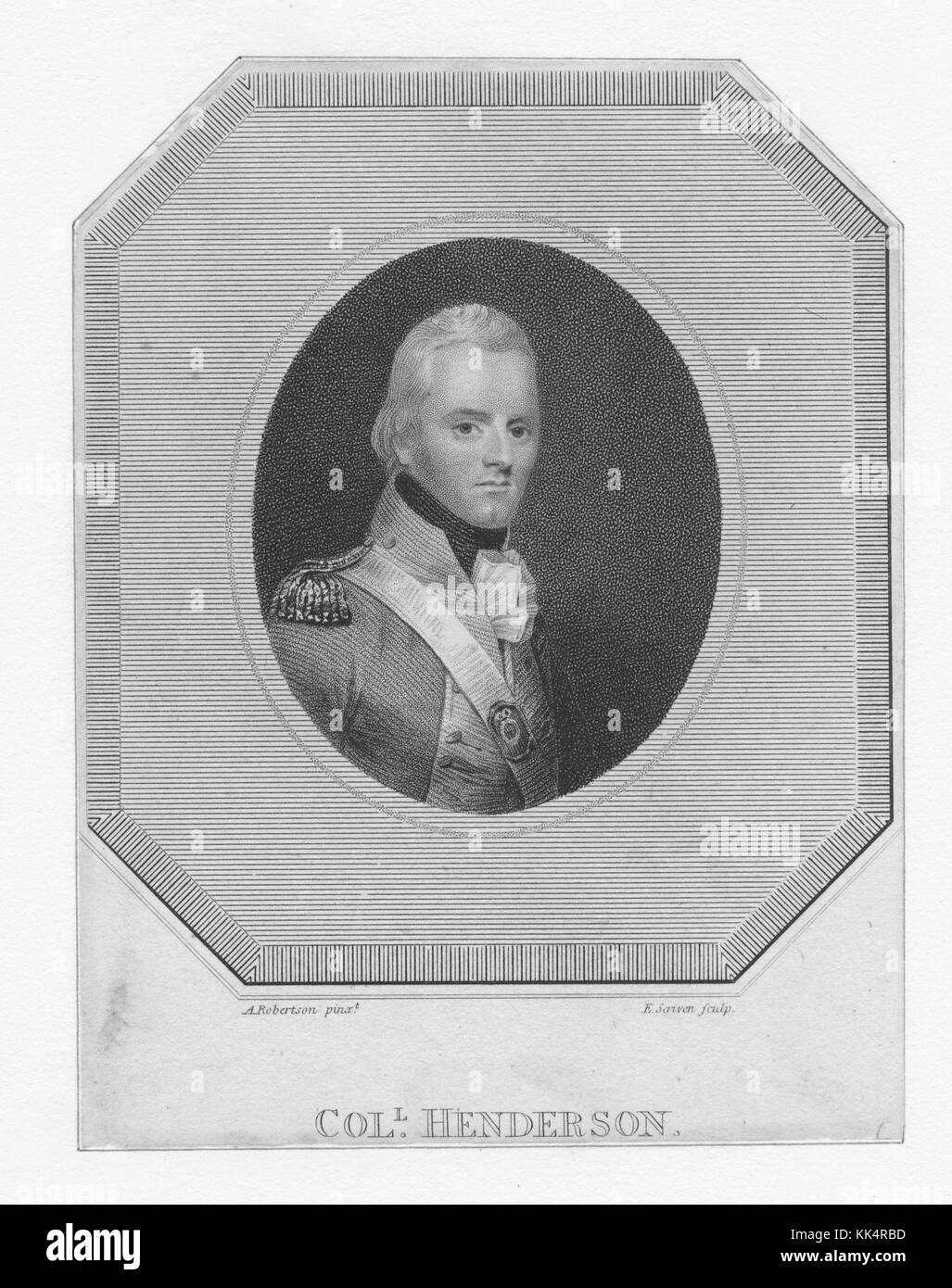 Engraved portrait of Richard Henderson, American pioneer and merchant who attempted to create a colony called Transylvania, - Stock Image