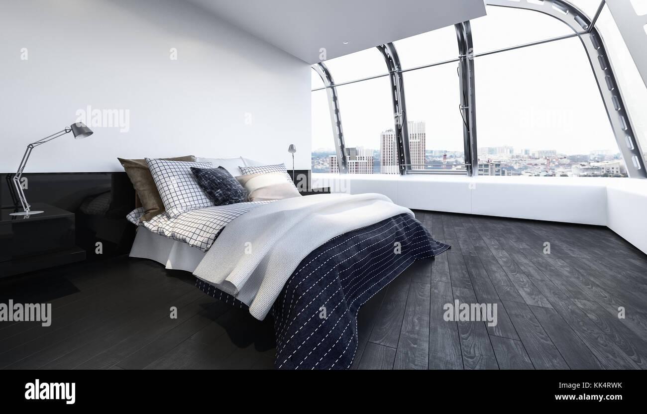 Bed in luxury clean bedroom with wooden floor and wide window. 3d Rendering. Stock Photo