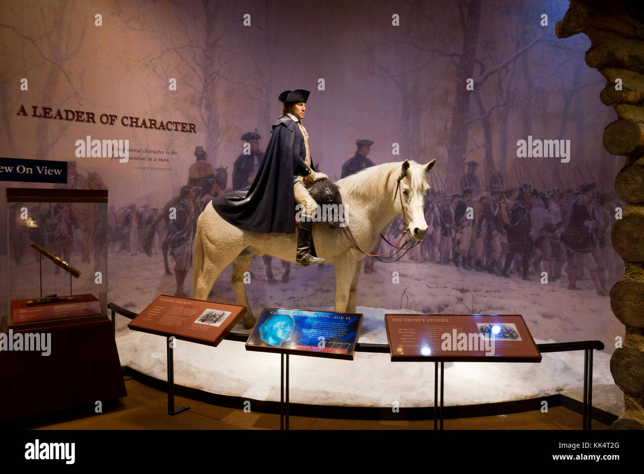 A display showing George Washington (aged 45) on a white horse in the museum on the Mount Vernon estate, Alexandria, - Stock Image