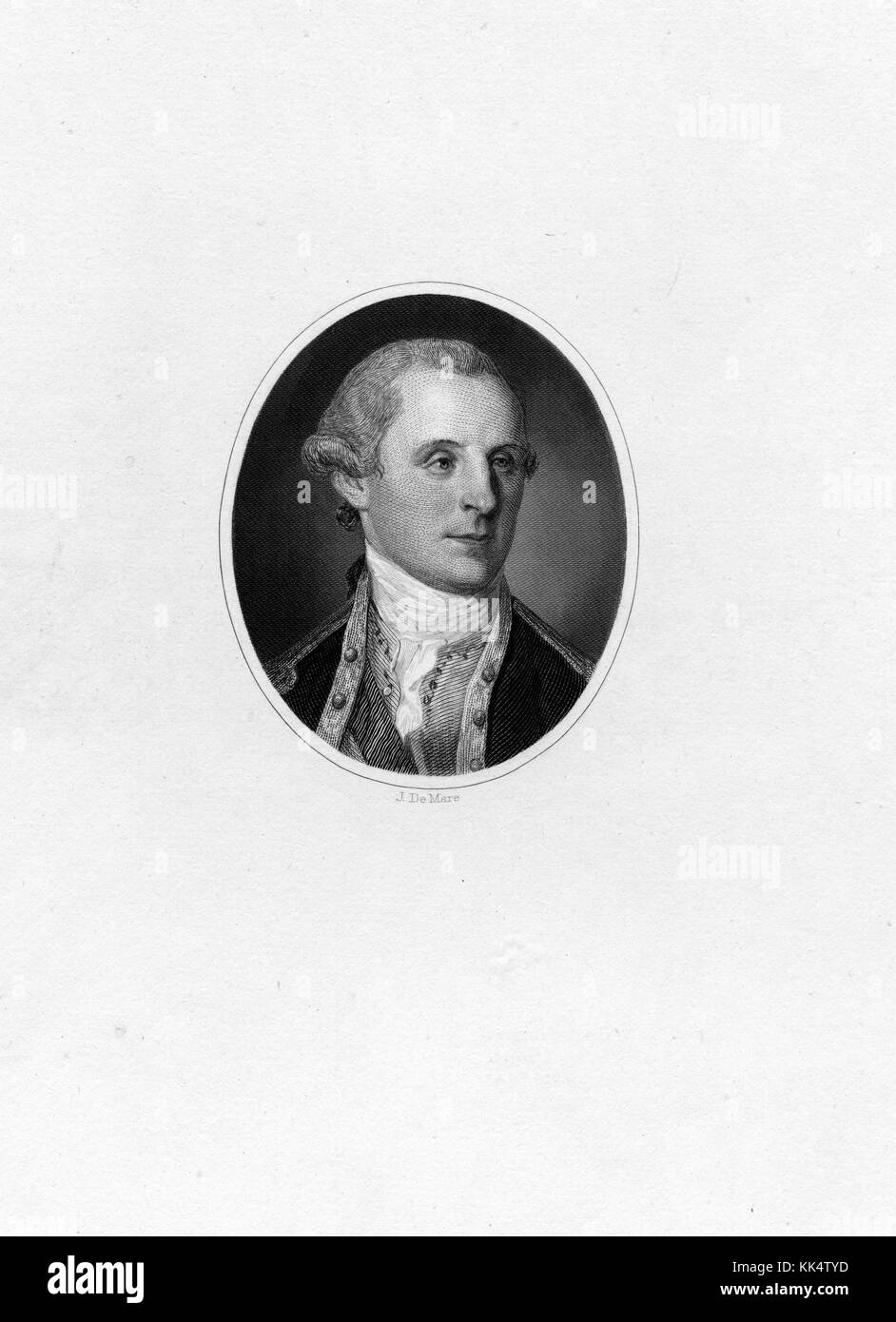 An engraving from a portrait of a young George Washington, he was the first President of the United States of America - Stock Image
