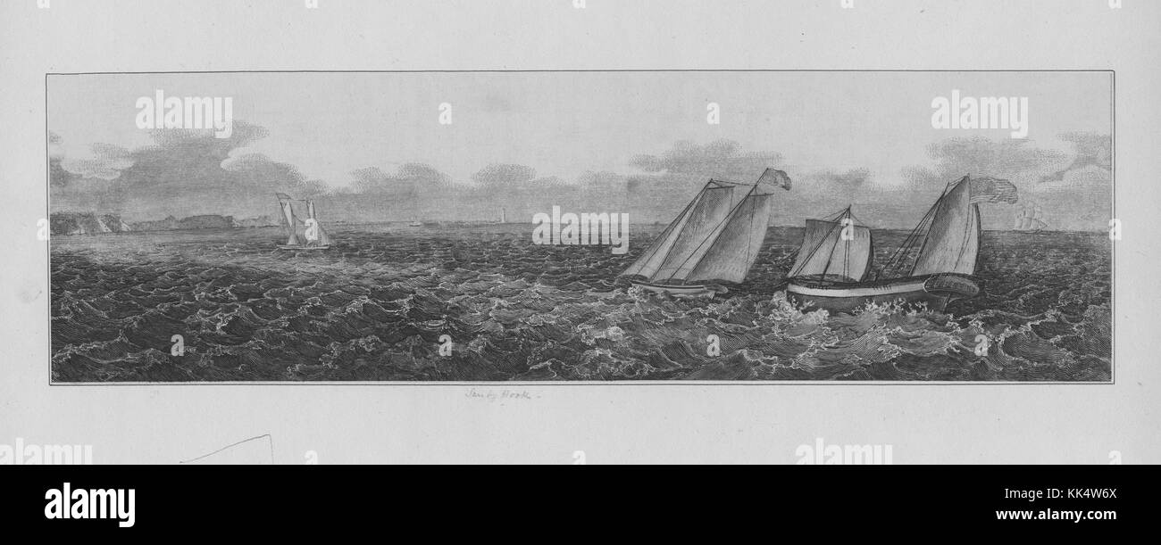 An engraving featuring several sailing vessels on heavy seas, the two boats in the foreground appear to be listed - Stock Image