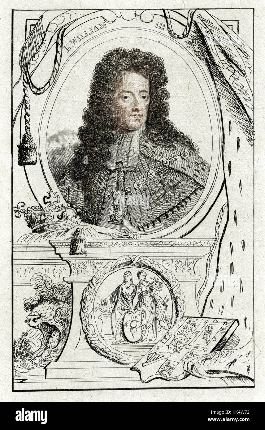 An engraving from a portrait of King William III, he was born as the Sovereign Prince of Orange, which is now part - Stock Image