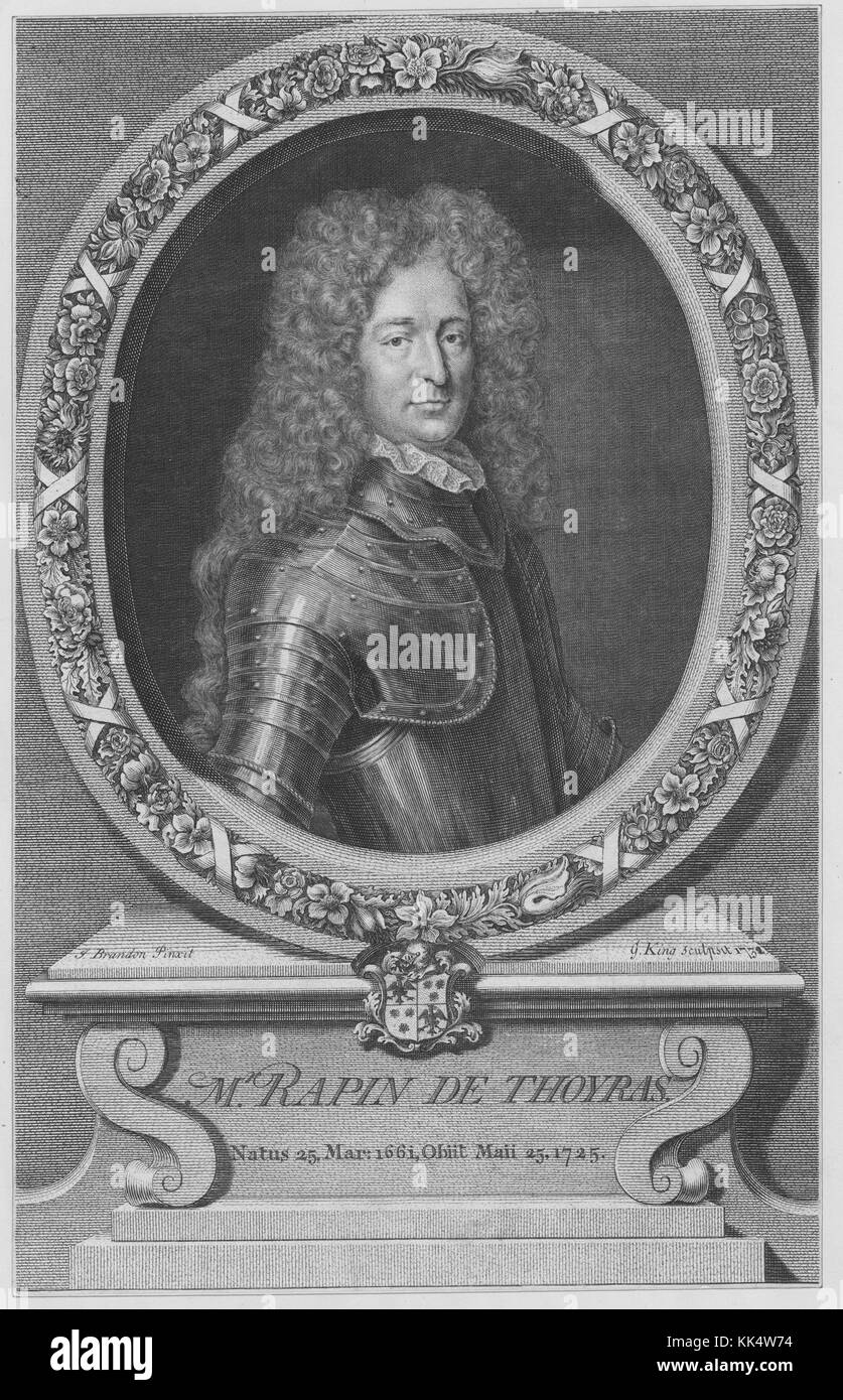 An engraving from a portrait of Paul de Rapin, he was a French historian, due to his status as nobility he was also - Stock Image