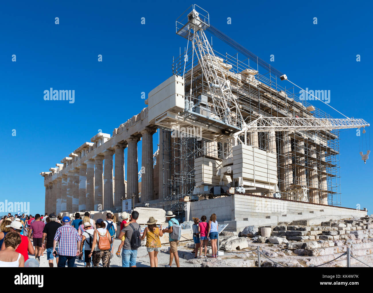 Western facade of the Parthenon, which is undergoing long term restoration / conservation work, Acropolis, Athens, - Stock Image