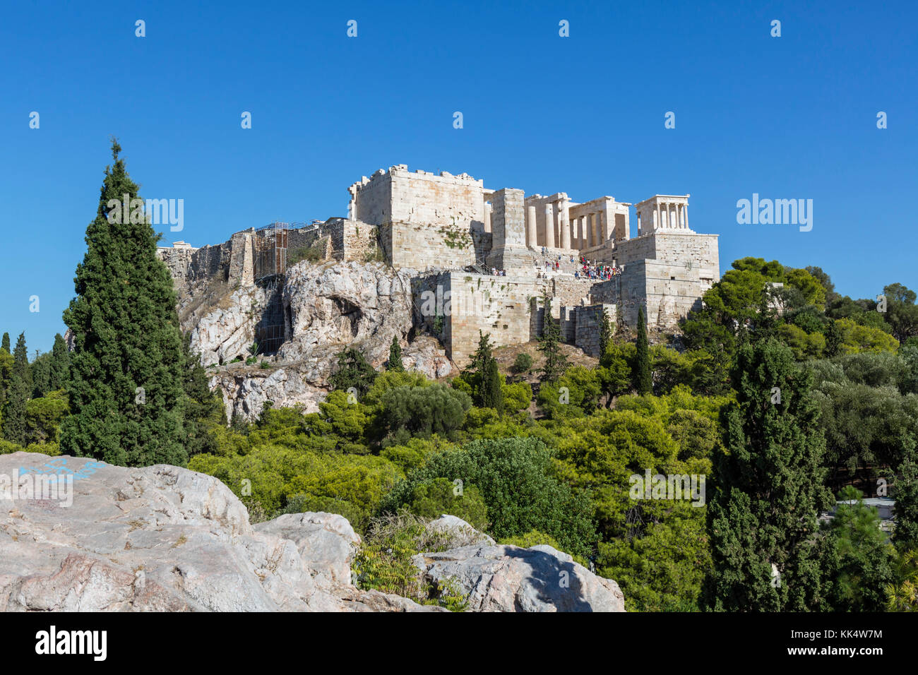 View of the Acropolis from Areopagus Hill with the Propylaea to the fore, Athens, Greece Stock Photo