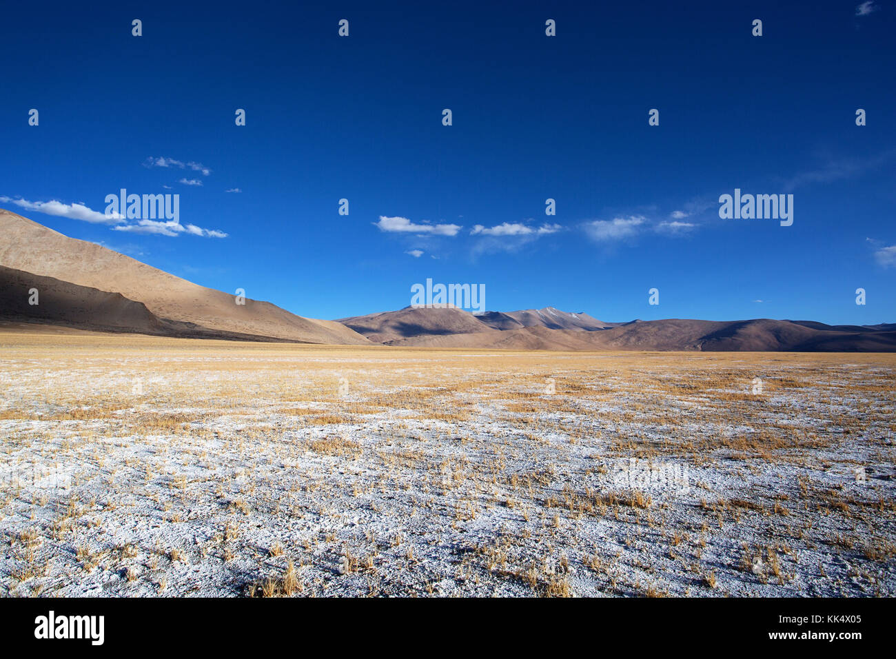 Barren landscape, himalayan peaks and layers of salt on a clear autumn day at a fluctuating salt lake Tso Kar, Ladakh, - Stock Image