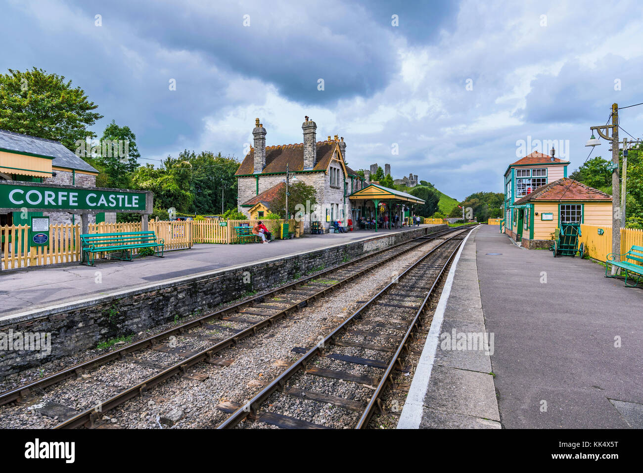 CORFE, UNITED KINGDOM - SEPTEMBER 06: This is Corfe Castle railway station. Corfe is a small medieval village with - Stock Image