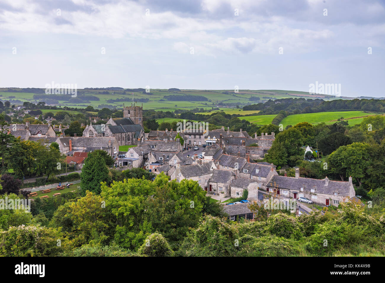 View of Corfe medieval village and countryside in England - Stock Image