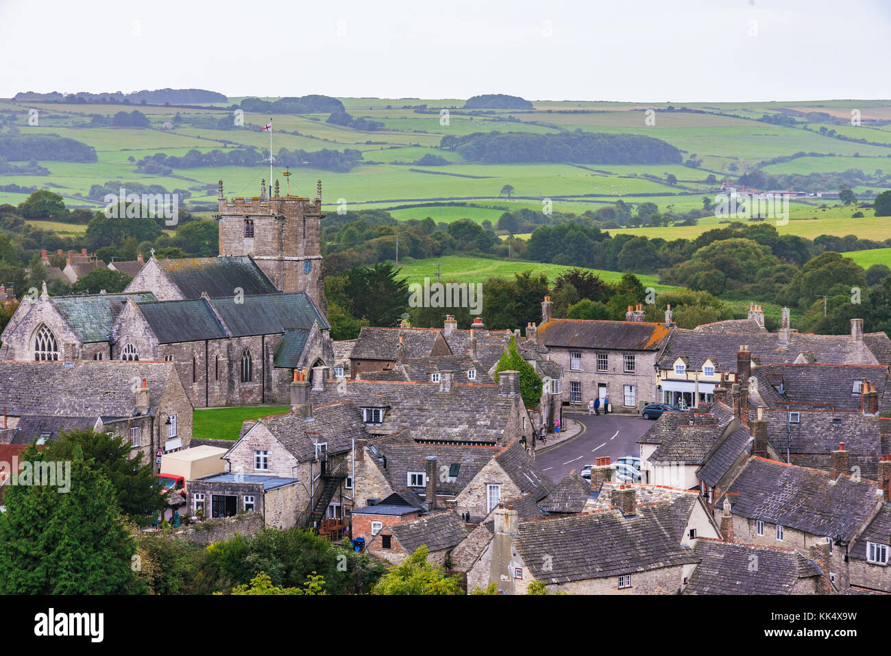 Corfe medieval village traditional British architecture - Stock Image